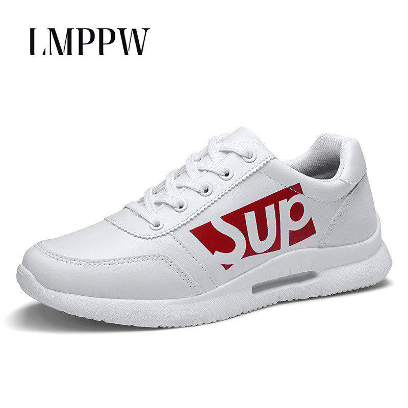 2019 New Men's Leather Leisure Sports Shoes White Lace Up Board Shoes Fashion Comfortable Sneakers for Men Flats Adult Footwear