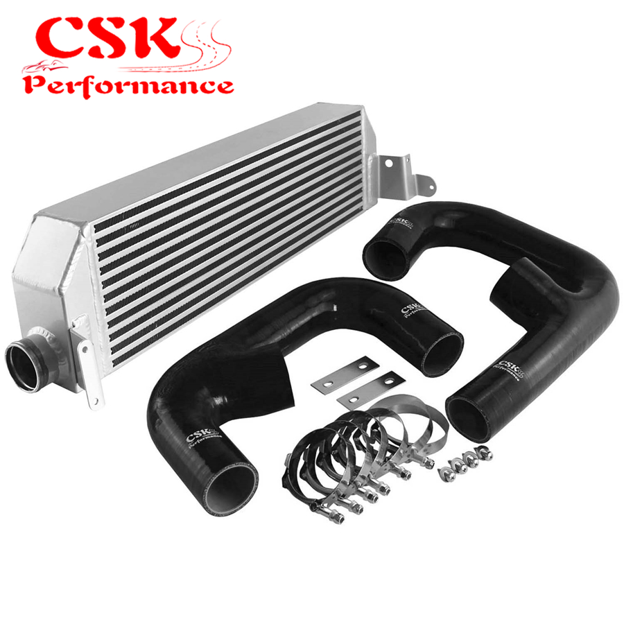 Upgrade FMIC Silver Aluminum Twin Intercooler with Black/Blue/Red Hose Kit Fits For Volkswagen Golf R GTI MK7 Audi S3 8V|  -