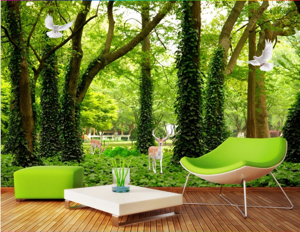 Custom photo 3d room wallpaper mural natural scenery forest trees