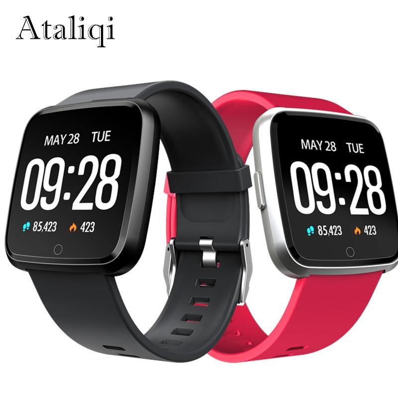 Ataliqi Smart watch Fitness Tracker Heart Rate Monitor Blood Pressure Push Message Women Men Sport Smartwatch