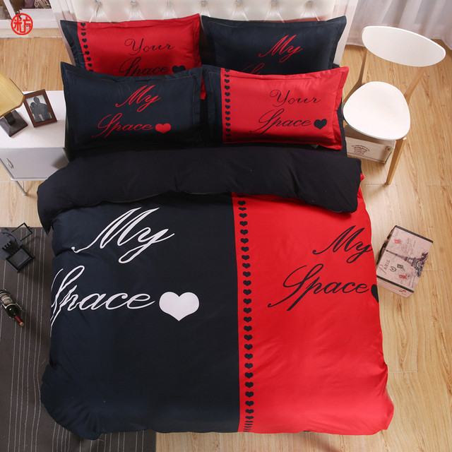Home Textile Red Black Bedding Set S Duvet Cover Pillowcase White And Her Side His Queen King Lover