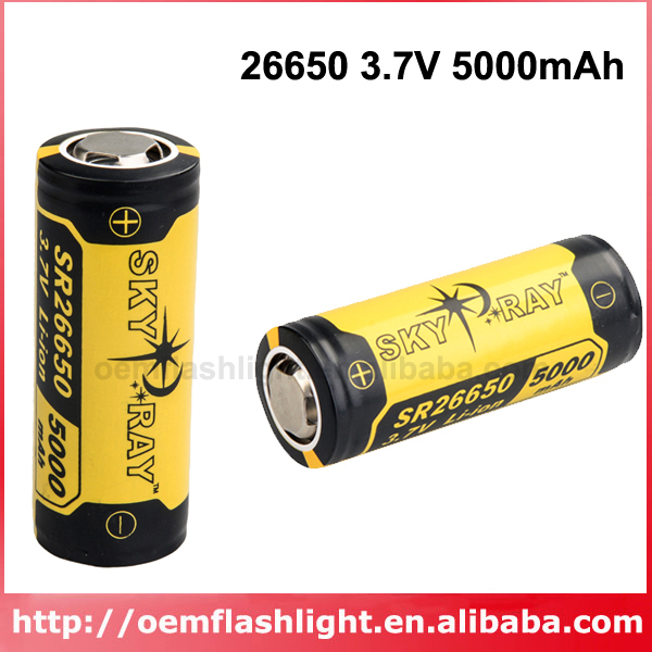 SKY RAY SR26650 3.7V 5000mAh Protected Rechargeable Li-ion 26650 Battery (2 Pcs)
