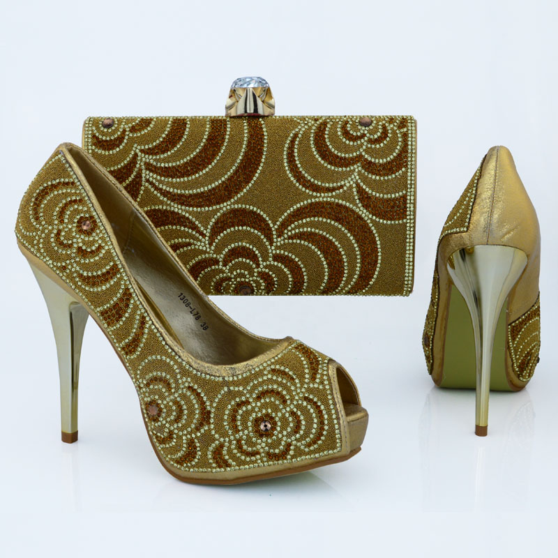 ФОТО Italian fashion heels with open toe well womens shining shoes and bag of diamonds set in  free shipping gold 1308-L78A
