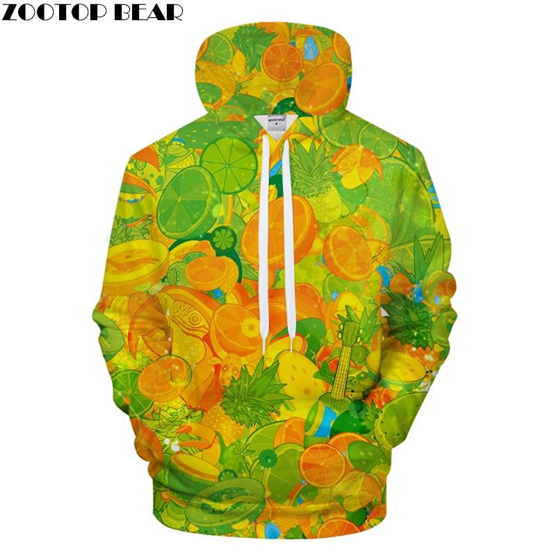 Orange Fruit Print Hoodies 3D hoodie Men Hoody Pullover Sweatshirt Harajuku Tracksuit Streetwear Coat Funny Jacket 2018 Dropship