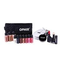 OPHIR 0.3mm Airbrush Makeup System Set with 3 Concealer Foundation 2 Blush 5 Eyeshadow Lipstick Set & Bag Makeup Tool _OP-MK001