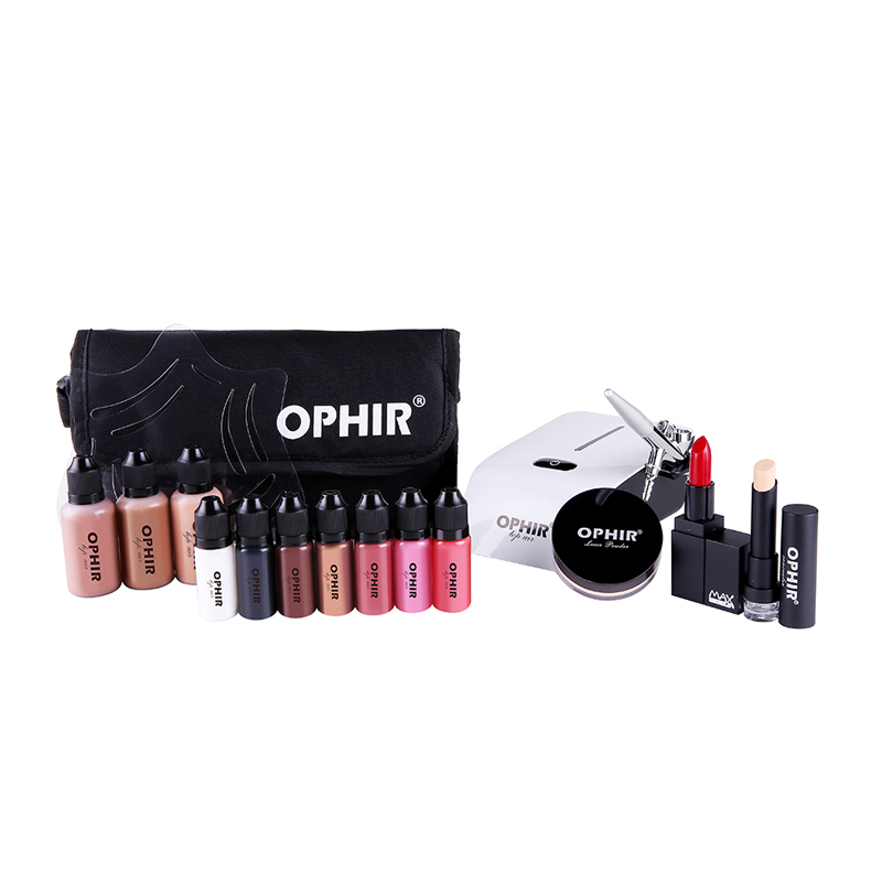 OPHIR 0.4mm Airbrush Makeup System Set med 3 Concealer Foundation 2 Blush 5 Ögonskugga Läppstift Set & Bag Makeup Tool _OP-MK001