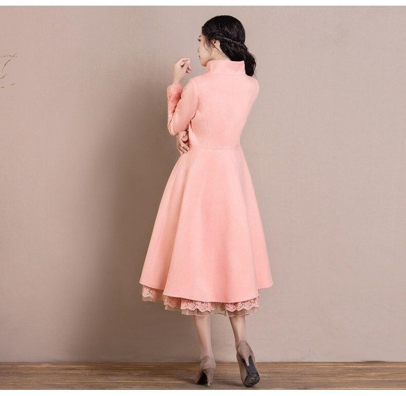 Long Hiver Taille Manteau Manteaux Femmes Mélangée La Col Brodé Automne Unique Montant En Dames Rose Plus 2018 Poitrine Fleur De Laine qTw5tcBIn