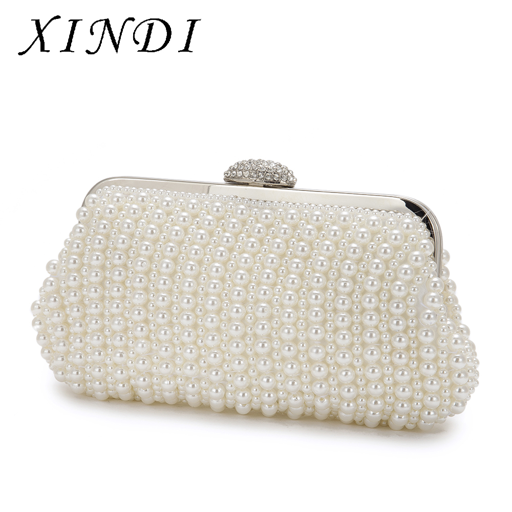 XINDI High Quality Dinner Party Handbags Pearl Beaded Evening Bag Metal Ladies White Clutches Purses With Chain Wedding Ceremony
