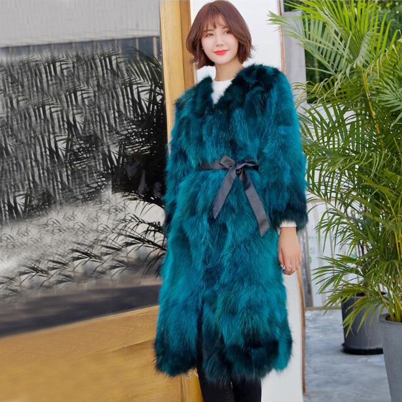 Genuine ksr394 Natural Raccoon Fur Outwear Vintage Warm For Winter Women Real Fur Long Coat Factory