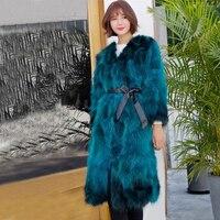 Genuine ksr394 Natural Raccoon Fur Outwear Vintage Warm For Winter Women Real Fur Long Coat Factory Wholesale Discount ksr394