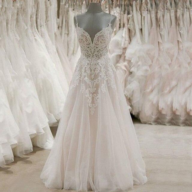 robe de mariee Spaghetti Strap Beach Wedding Dresses 2019 Simple White Lace Tulle Casamento Bridal Gown Custom Made