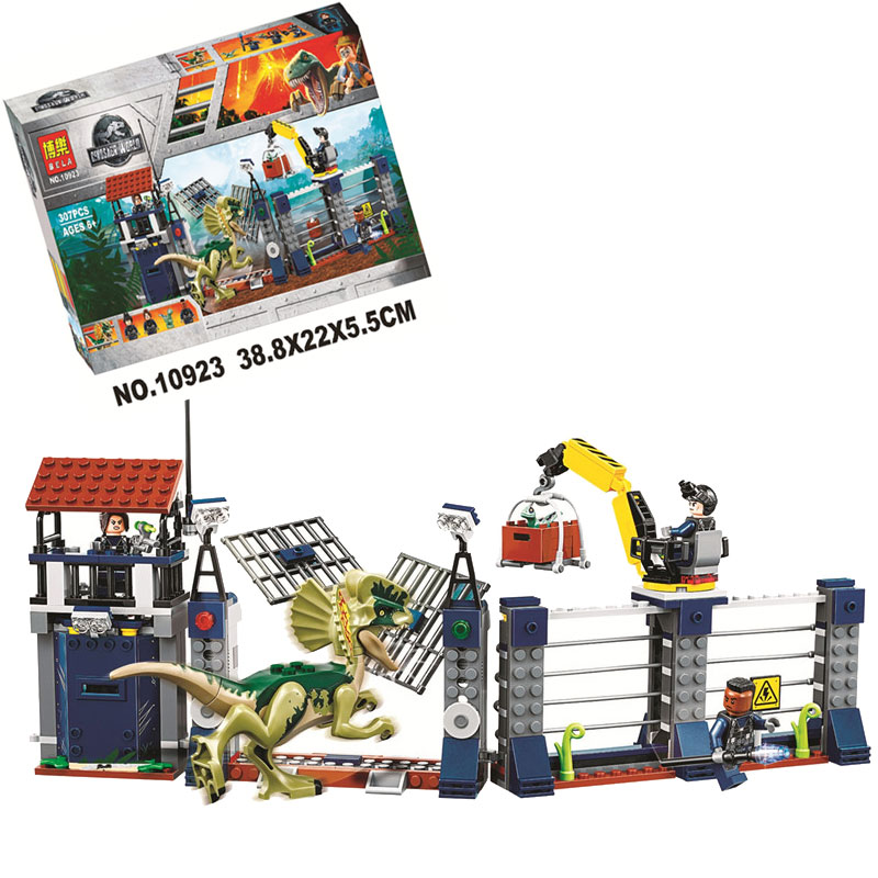 Jurassic World 2 Dilophosaurus Outpost Attack Building Block Bricks Toys Compatible Legoings Jurassic Park Dinosaur 75931 5 pack jurassic building blocks park dinosaur toys jurassic world dinosaur toys 8pcs