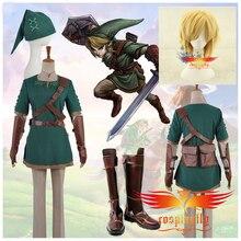 De Legend Of Zelda Link Cosplay Kostuum Custom Volwassen Mannen Outfit Doek Schoenen Laarzen COS Pruik Krullend Haar Volledige Set (W0510/J0010)