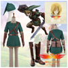 The Legend of Zelda Link Cosplay Costume Custom Adult Men Outfit Cloth Shoes Boots COS Wig Curly Hair Full Set (W0510/J0010)