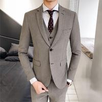 Loldeal Free hot men's houndstooth slim double buckle suit Mens gray Groom Tuxedos( jacket+Pants+vest+tie)