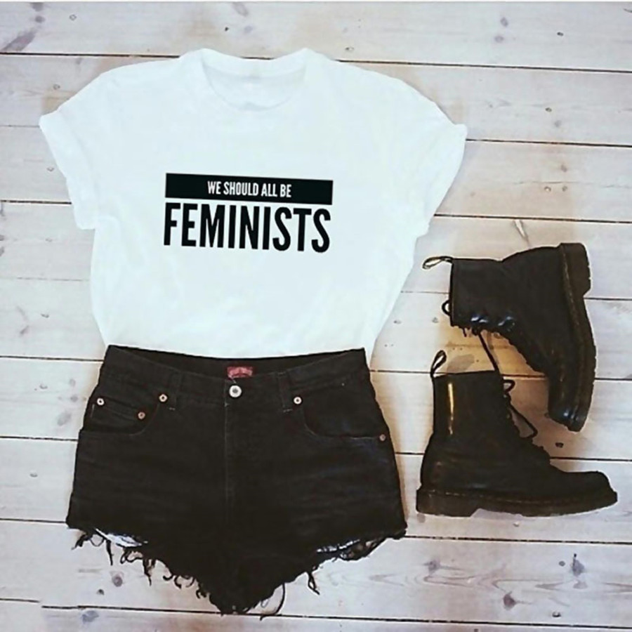 2018 New Hipster Women t shirt Short sleeve O Neck Feminists Letter Print t-shirt Plus size Casual tops tees camisetas mujer