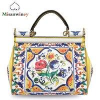 Luxury Brand Bag Female Printed Genuine Leather Handbags 2018 Vintage Handmade Women Handbags Top Handle Cross