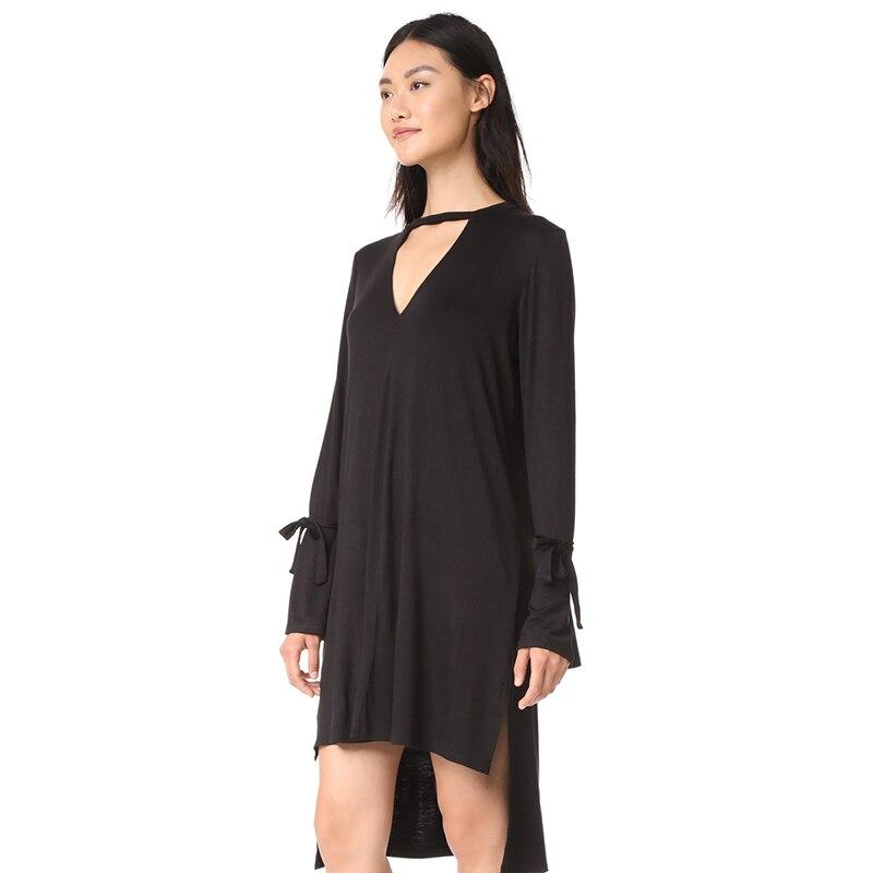 Vestido de mujer HYH HAOYIHUI con cuello en V de manga larga con encaje para mujer moda femenina vestido Casual sólido negro alto hueco fuera - 3