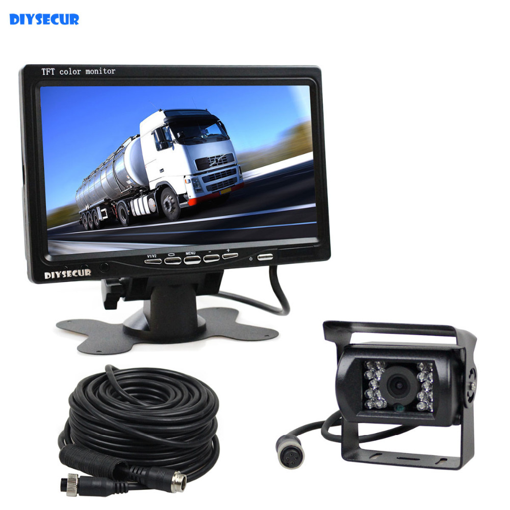 DIYSECUR 12V 24V DC 7inch TFT LCD Car Monitor Rear View Monitor + IR Night Vision HD Rear View Camera for Bus Houseboat Truck
