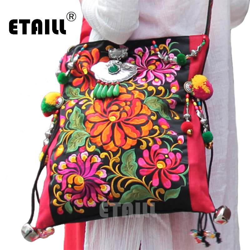Handmade Ethnic Hmong Pompon Embroidered Handbag Thai Boho Women Messenger Shoulder Tassel Bags Christmas Gift Sac a Dos Femme national embroidered bags embroidery unique shoulder messenger bag vintage hmong ethnic thai indian boho clutch handbag 25 style