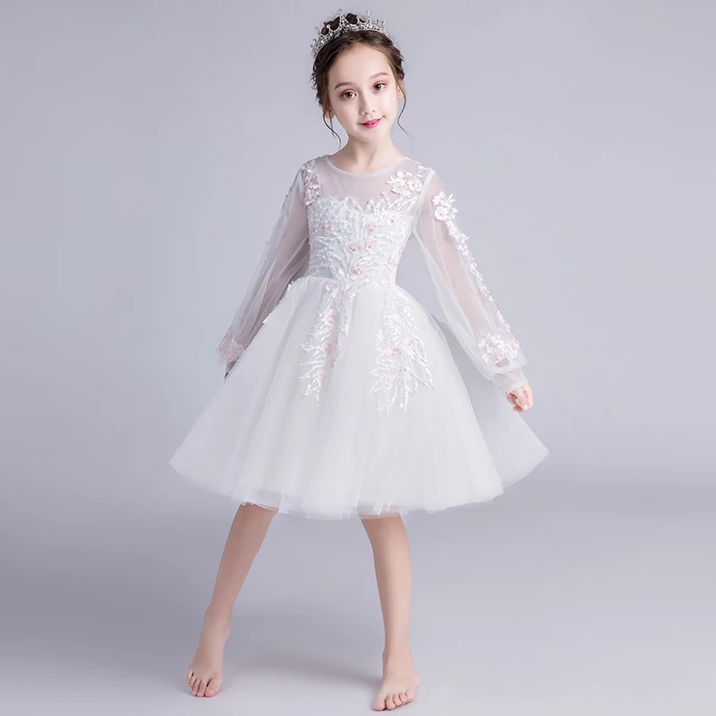 Children Girls Pure white Color Embroidery Flowers Birthday Wedding Party Princess Lace Dress Kids Baby Host Tutu Costume DressChildren Girls Pure white Color Embroidery Flowers Birthday Wedding Party Princess Lace Dress Kids Baby Host Tutu Costume Dress