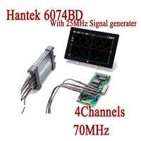 Hantek USB Oscilloscopes 6074BD Osciloscopio Portable Digital 4 Channels 70MHz Oscillograph with 25MHz Signal Generator