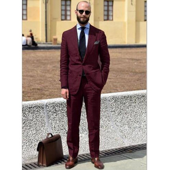 New Design Burgundy Men Suit For Wedding Slim Fit Groom Tuxedo Blazer Wedding Suits Groomsmen Suit Tuxedos (Jacket+Pant)