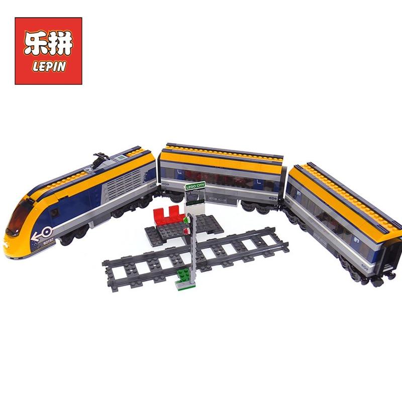2018 DHL Lepin 02117 758Pcs City Passenger Train Set Compatible Legoing 60197 Model Building Kits Blocks Bricks Educational Toys