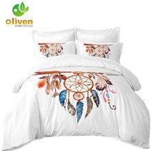 Girls Dream Catcher Bedding Set Dreamcatcher Feather Print Duvet Cover Bohemia Quilt Pillowcase Home Decor D35