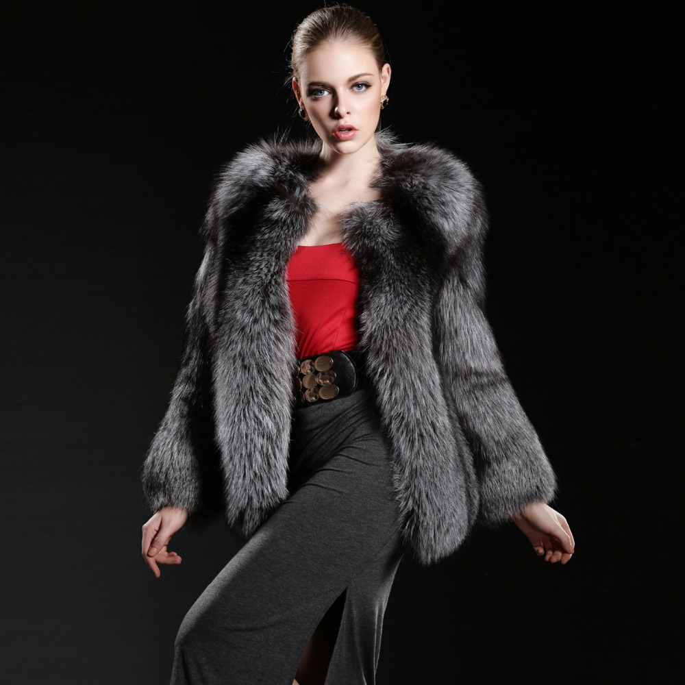 Natural fox fur coats, warm beautiful genuine silver fox fur coat for women, luxury full pelt women's winter jacket