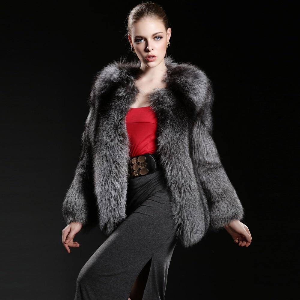 Skutečný stříbrný liščí kožich pro ženy, celá kůže teplá krásná originální liščí kožichová bunda dámského svrchního oděvu