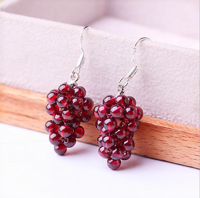 Natural crystal garnet grape earrings female 925 silver ear hook fashion jewelry drop earring