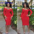 Sexy Women Red Cocktail Dresses With Long Sleeves Vestidos Gold Beaded Sweetheart Spandex Party Prom Dress Gowns Custom Made
