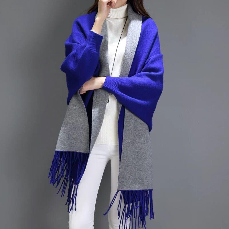SC2 большой шарф Зимний вязаный пончо женский однотонный дизайнерский плащ женский длинный рукав летучая мышь пальто винтажная шаль - Цвет: Dark Blue With Grey