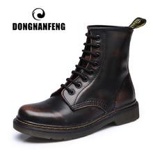 DONGNANFENG/женские ботильоны, женская обувь на шнуровке из натуральной коровьей кожи на зиму и весну Теплые повседневные сапоги для верховой езды на меху в стиле панк, большие размеры 43, 44, YDL-666