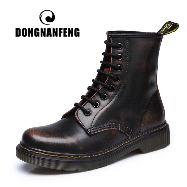 DONGNANFENG Women's Female Ankle Boots Shoes Winter Spring Genuine Leather Lace Up Shoes Punk Plus Riding Equestr 43 44 YDL-666