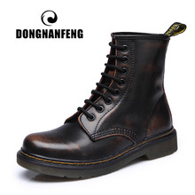 DONGNANFENG vrouwen Vrouwelijke dames vrouw Enkel Laarzen Winter Lente Koe Echt Leer Lace Up Schoenen Punk Plus bont warm casual Rijden Equestr Botas Mujer Plus Size 43 44 YDL-666(China)