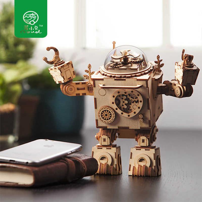 Robud diy 3d puzzle montado de madeira articulada robô corte a laser modelo brinquedos para crianças caixa de música presente am601 para dropshipping