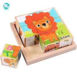Brinquedo do bebê bloco de madeira cortar cubos de madeira animais frutas tráfego 9 pçs 6 lado brinquedos educativos para crianças
