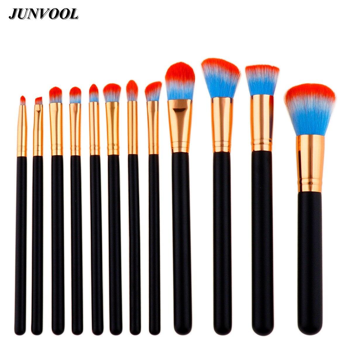 Pro Powder Brush Black Rose Gold 12Pcs Makeup Brushes Set Blue Red Synthetic Hair Make Up Tools Cosmetic Foundation Brush Kits mac splash and last pro longwear powder устойчивая компактная пудра dark tan