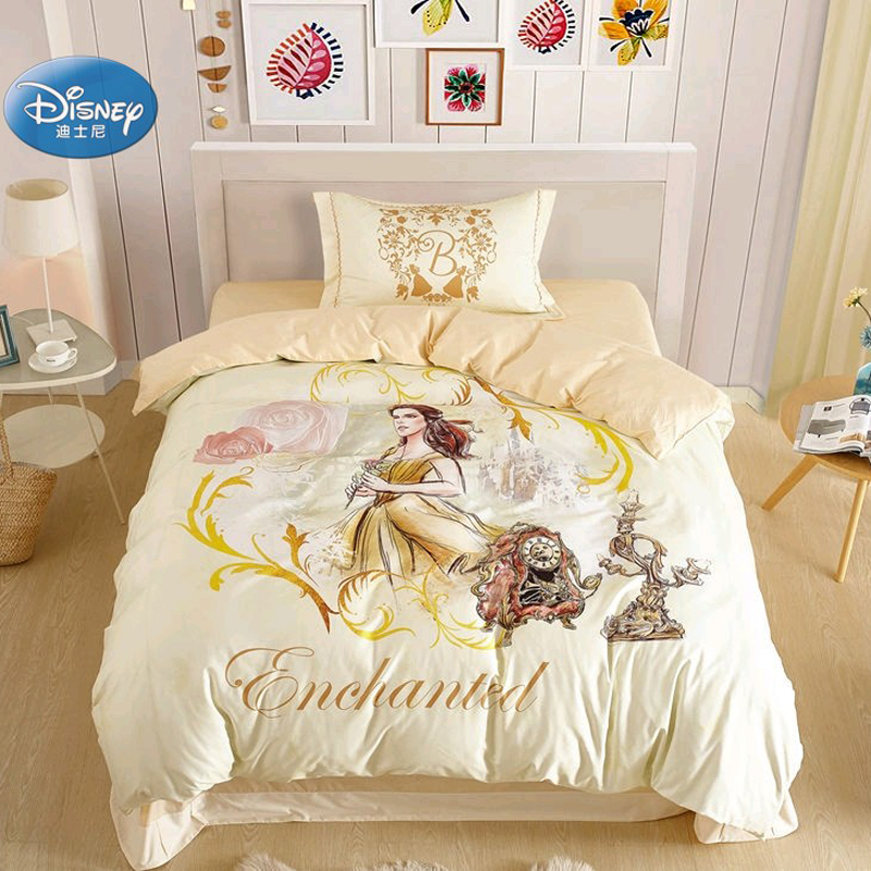 Princess Beauty And The Beast 3D Printed Cream Bedding Set For Girls Children Birthday 100%  Cotton Duvet Cover Pillowcases