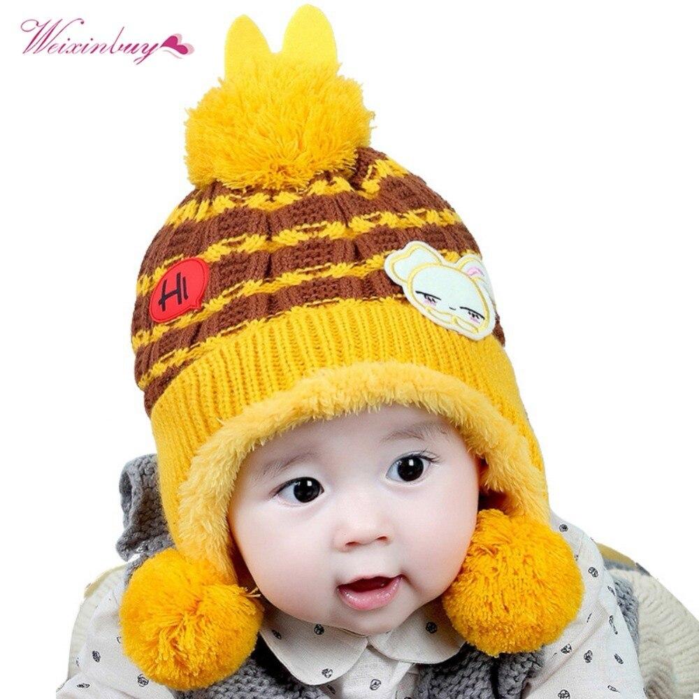 WEIXINBUY Baby Winter Hat Cute Warm Infant Beanie Cap For Children Boys Girls Animal Cat Ear Fashion Kids Crochet Knitted Hat