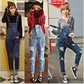 HOT!!New Arrival 2016 Spring&Autumn Women's Denim Overalls Korean Style Show Thin Ripped Holes Jeans Suspender Bib Pants 3Colors