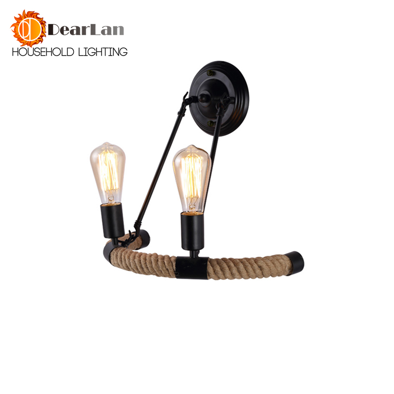 Vintage Edison Item 2-Head Good Looking Rope Wall Lamp Vintage Bedside Wall Light For Living Room Bedroom Decoration[BT-50]