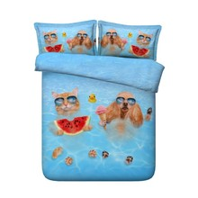 Duvet cover 3D Cat Bedding set Luxury Cotton bed sheet linen sheets bed in a bag Cal Super King Queen size twin full double 4pcs цена