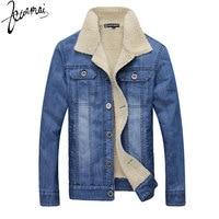 New Men Washed Cotton Denim Jacket Fashion Casual High Quality Cashmere Thermal Plus Denim Jacket Men