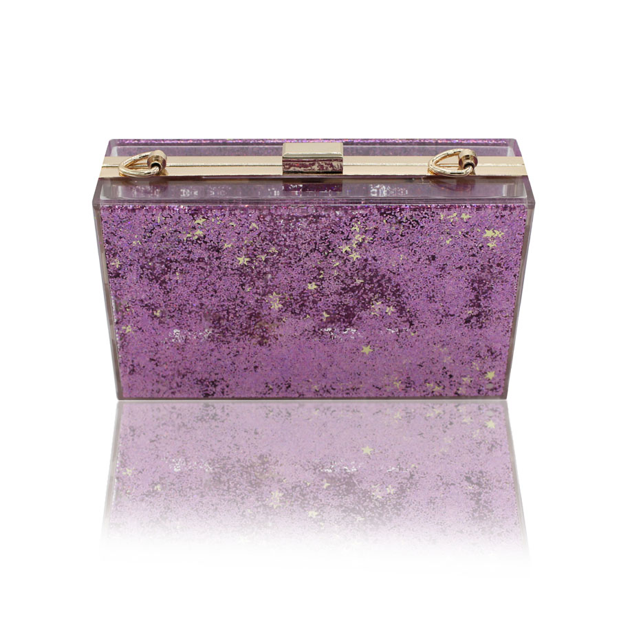 The acrylic materail with heaving sand finished evening clutch bag