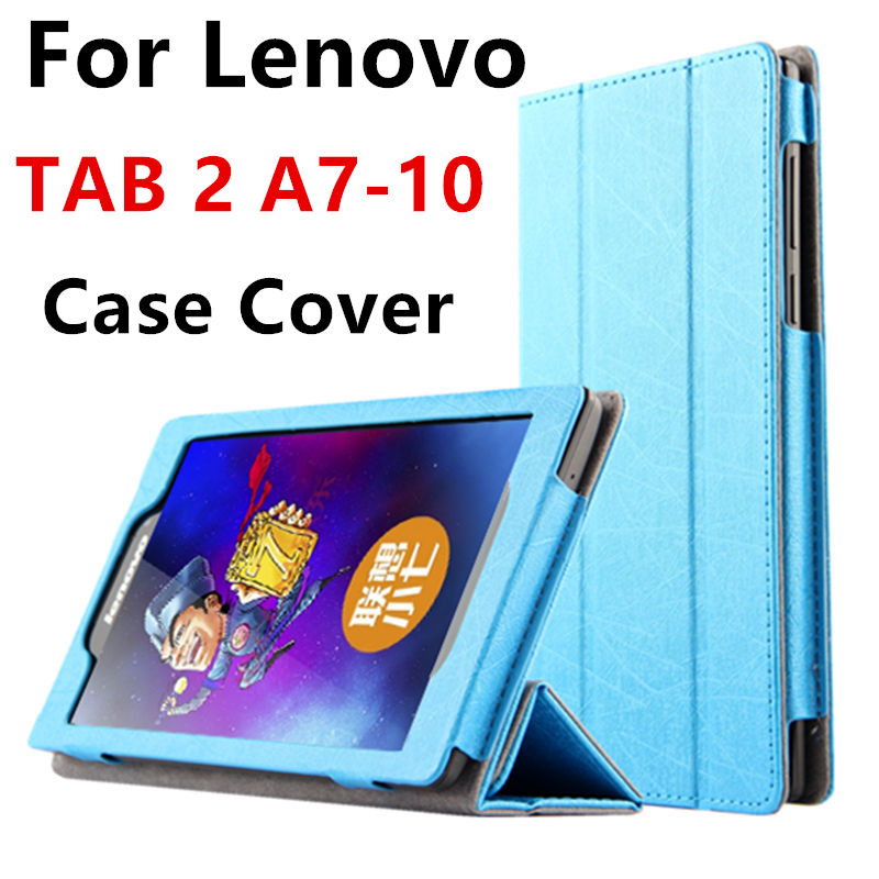 Case For Lenovo TAB 2 A7-10 Smart cover Faux Leather Protective Tablet PC For Lenovo TAB2 A7-10F 7 inch PU Protector Sleeve Case for lenovo tab 2 a7 30 2015 tablet pc protective leather stand flip case cover for lenovo a7 30 screen protector stylus pen