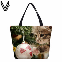 VEEVANV New Designer Shopping Bags Christmas Bells Snowman Prints Handbags Canvas Santa Claus Cartoon Boookbag Tote Shoulder Bag