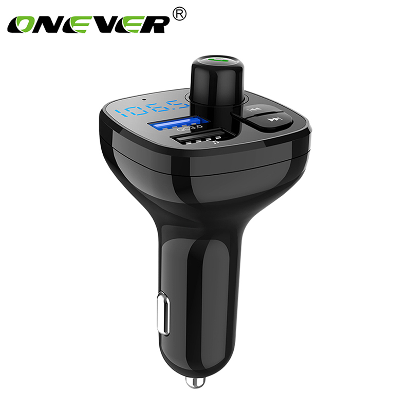Onever Bluetooth Wireless Car Mp3 Player Handsfree Car Kit FM Transmitter A2DP 5V 3.1A USB Charger LED Display QC3.0 Fast charge usb